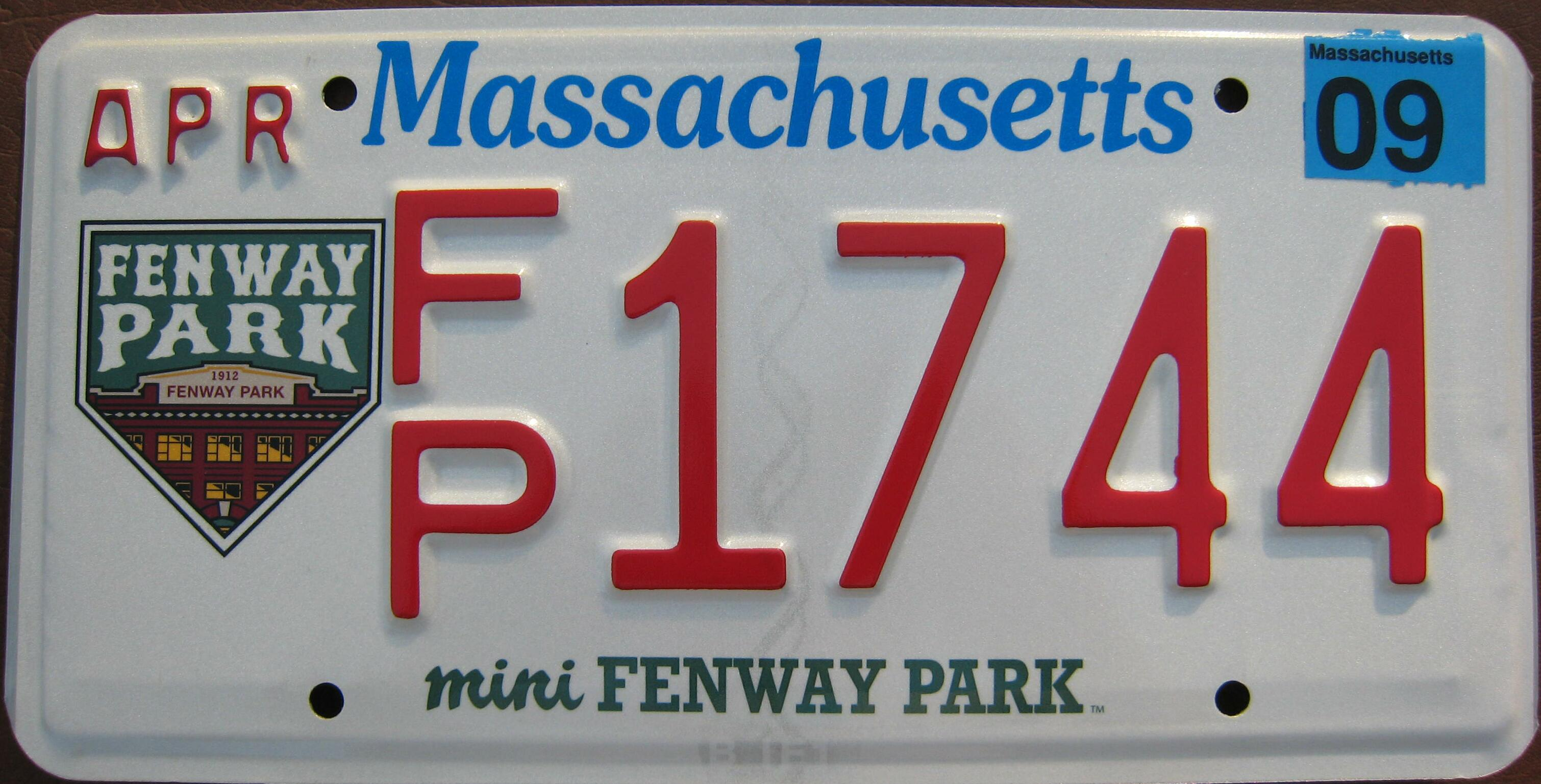 This plate was stopped and is no longer available. & MA Fenway.JPG